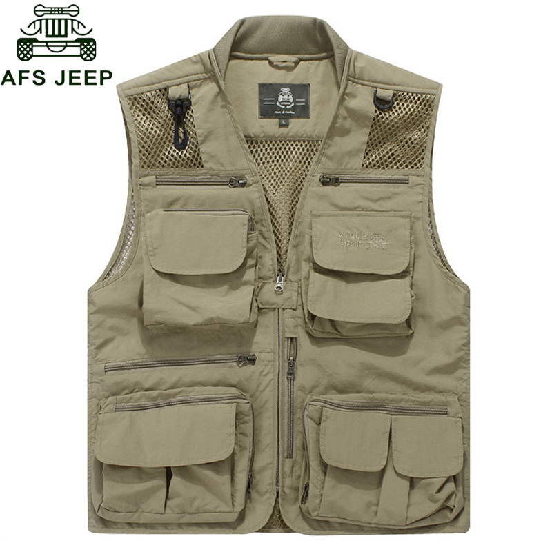 Afs Jeep 2017 Size M 8XL Summer Vest Men Casual Mesh Waistcoat Loose Multi pockets Collarless