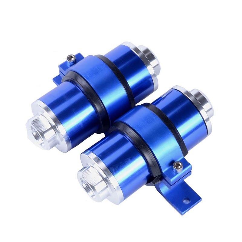 Kit de filtre à essence en ligne de carburant en aluminium SPEEDWOW filtre à carburant à haut débit adaptateur de raccords AN10/AN8/AN6 avec support de pompe à carburant - 2