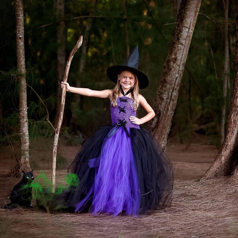 Purple Black Girls Party Dresses Little Witch Halloween Costume Baby Kids Tutu Dress Fancy Clothing Cosplay Birthday Festival