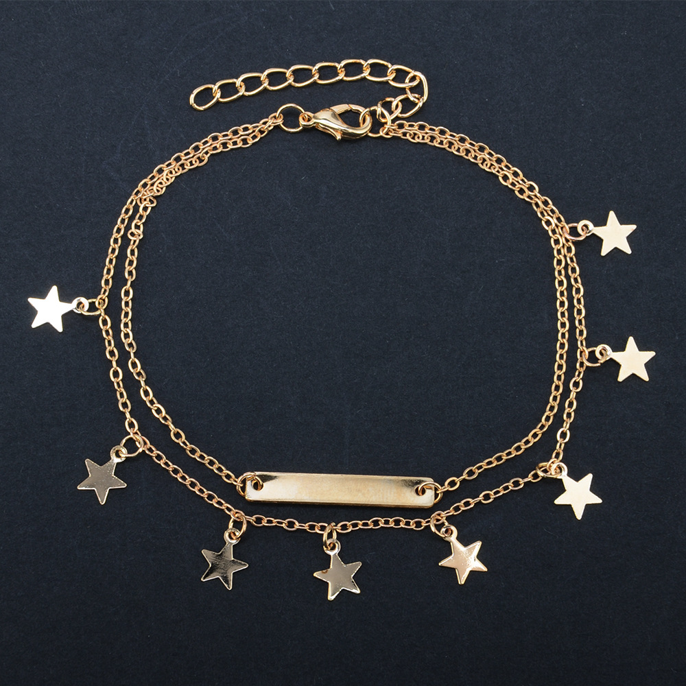 2017 Fashion woman plating gold silver chain Anklets crystal star Pendant summer beach Anklets bracelet jewelry double