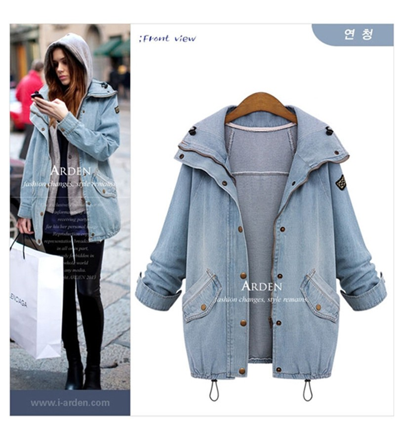 Hooded Drawstring Trends Jackets 2016 Fashion Autumn Winter Pockets Two Piece Outerwear Women Long Sleeve Buttons Blue Coat  (9)