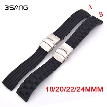 18mm 20mm 22mm 24mm Silicone Rubber Watch Band for Casio BEM 302 307 501 506 517 EF MTP Series Safety Buckle Strap + Tools