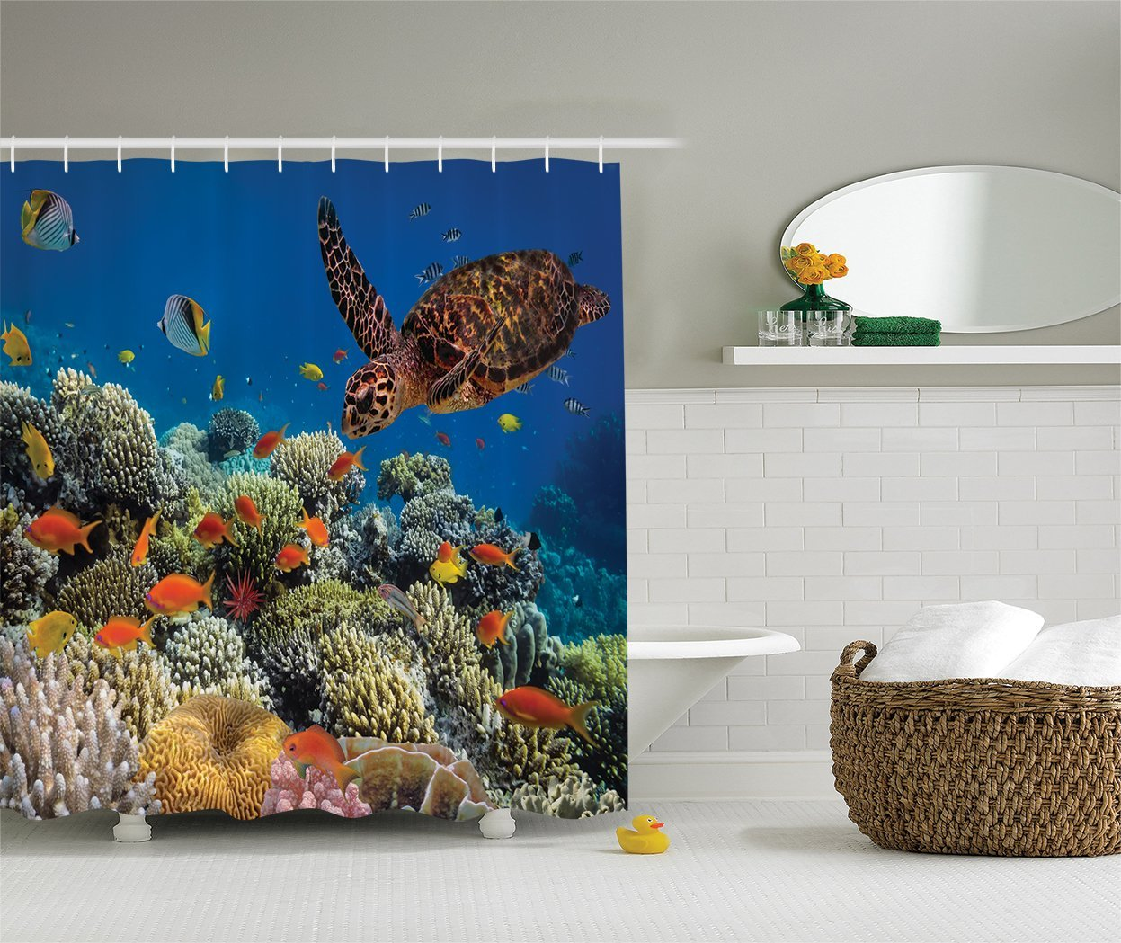 Egyptian aquarium ornaments - Colorful Fishes And Old Turtle Coral Reefs Dahab Red Egyptian Sea Picture Polyester Fabric Bathroom