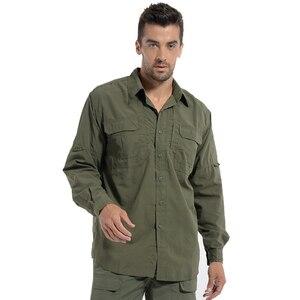Image 4 - MEGE Brand Clothing, Summer Men Long Sleeve Shirt, Breathable Quick Dry Cargo Shirt, Camisa Social Masculina, Mens Dress Shirts