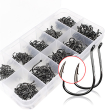 Outsp 500pcs Carbon Fishing Hooks Stainless Steel Fishhooks 500pcs Pesca Jig Head Carp Fishing Hook With Ten Division Tackle Box