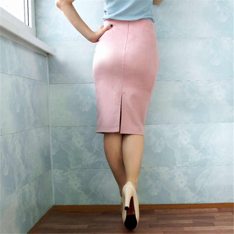 Neophil 19 Winter Women Suede Midi Pencil Skirt High Waist Gray Pink XXL Sexy Style Stretch Wrap Ladies Office Work Saia S1009 13