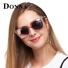 DONNA Women Rivet Fashion Square Sunglasses Vintage Brand Designer Coating Polarized Sun Glasses D125