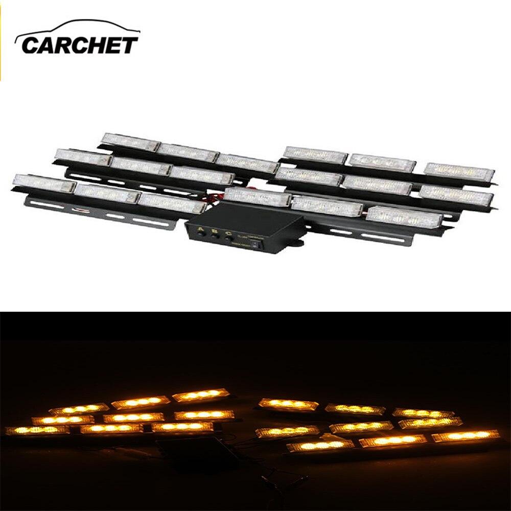 ФОТО CARCHET 54 LED Yellow Strobe Warning Flash Lights Set Dash Deck Emergency Flashing Light 3 Model 12V 5W Outdoor FREE SHIPPING