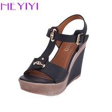 HEYIYI Wedges Platform Shoes Women Sandals T-Strap High-Heeled Blue Color Fashion Adjustable Buckle Strap 11cm Large Size Summer