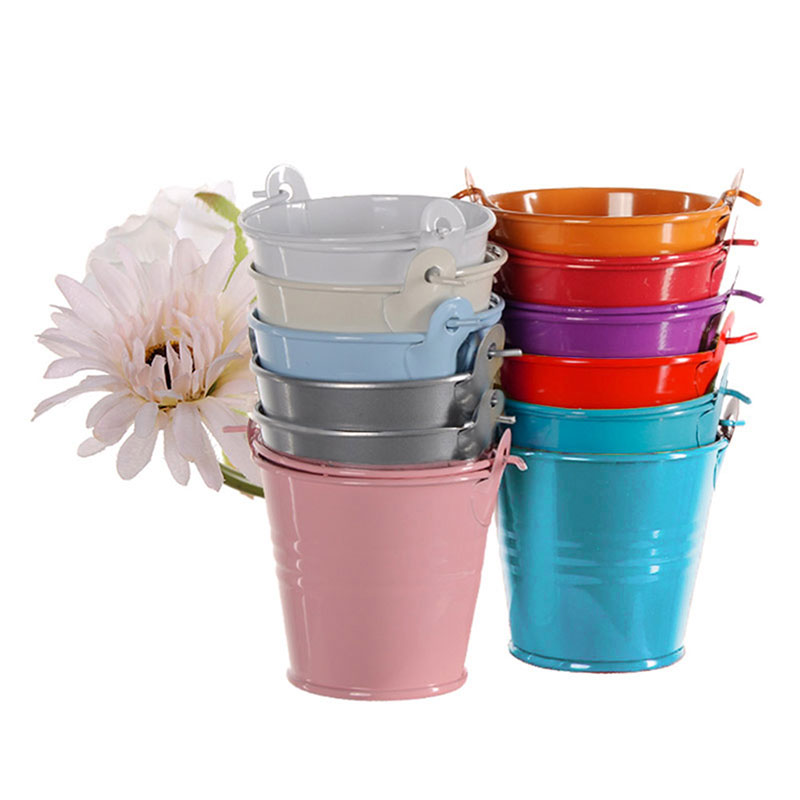9pcslot mini metal bucket tin candy box buckets for wedding party souvenirs gift pails