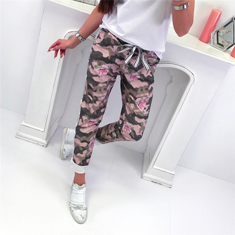 Fashion Womens Pants 2018 New Arrival Comfortable Sequins Camouflage Print Bandage Patchwork Mid Waist Long Pants Trousers F#J12 (15)