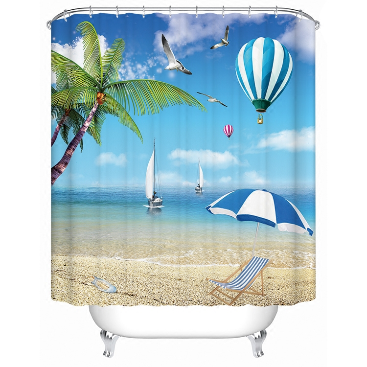 1800x1800mm Customized blue ocean bathroom shower curtain waterproof thickening mold seagull curtain partition curtain curtain-0