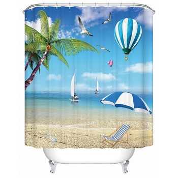 1800x1800mm Customized blue ocean bathroom shower curtain waterproof thickening mold seagull curtain partition curtain curtain