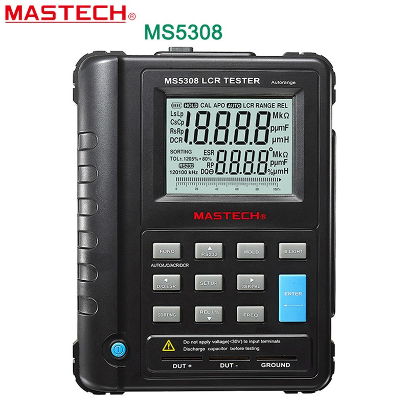 Mastech MS5308 Handheld Professional Auto Range Digital LCR Meter Inductance Capacitance Resistance Tester 100Khz 3 1 2 1999 count digital lc c l meter inductance capacitance tester mastech my6243