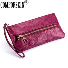 COMFORSKIN Guaranteed 100% Genuine Leather Multi-functional Wallet For Women New Arrivals Coin Purse Zipper Pocket 2019