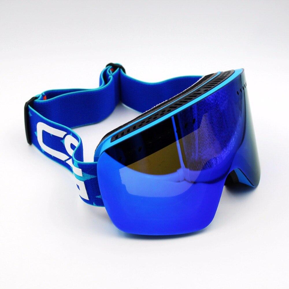 Prix pour Bleu Lentille Bleu Cadre Ski Lunettes REVO Double Lentille UV400 Anti-Brouillard Grand Masque de Ski Lunettes de Ski Hommes Femmes Neige Snowboard lunettes