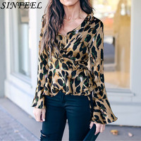 Fashion Women Leopard Printed Flare Sleeve Vintage Blouse Shirts Female Vogue High Street Criss-Cross V Neck Blouses Tops Shirt
