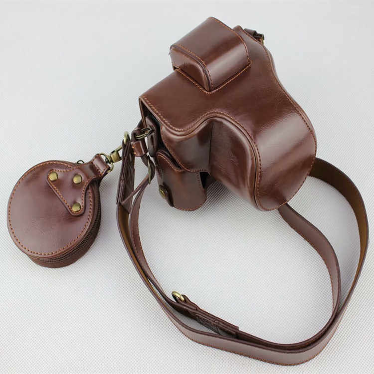 Ocotex Luxury Version PU Leather Case Protective Cover For Canon EOS M50 Half Body Camera Bag Shoulder Strap Battery Opening