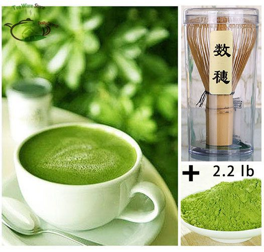 1x 35.2oz/2.2lb/1000g Pure Organic Natural Matcha Green Tea Healthy Powder (4* 250g bags) + 1*Bamboo Chasen Whisk 03 Set Pack