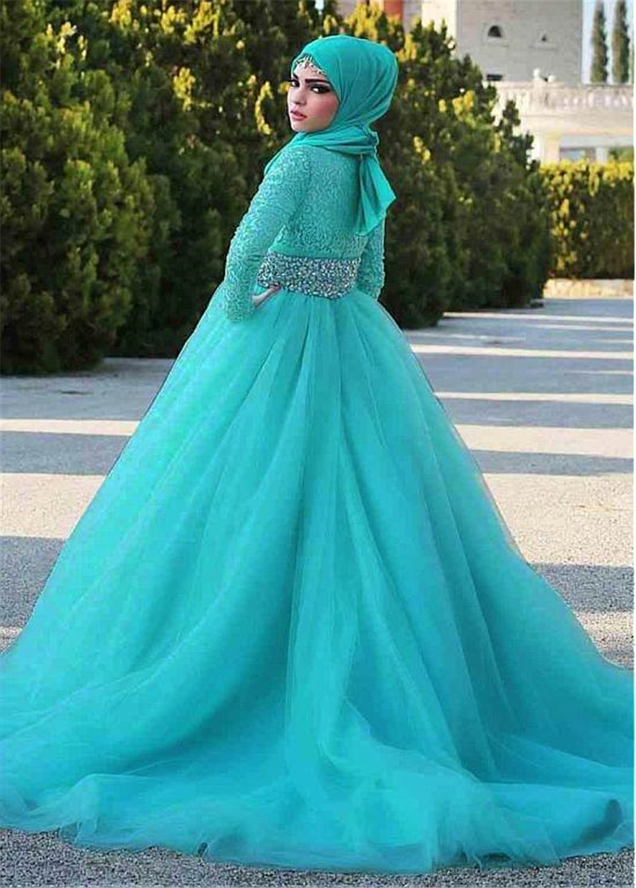 Image 2 - Gorgeous Tulle Natural Waisline Ball Gown Arabic Islamic Wedding Dresses with Rhinestones Belt Muslim Bridal Dress Blue-in Wedding Dresses from Weddings & Events