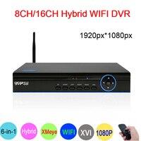 XMeye 1080P Hi3531A Hi3521A Bule Panel 16 Channel 16CH/8CH 6 in 1 Wifi Hybrid Coaxial NVR CVI TVi AHD CCTV DVR Free Shipping