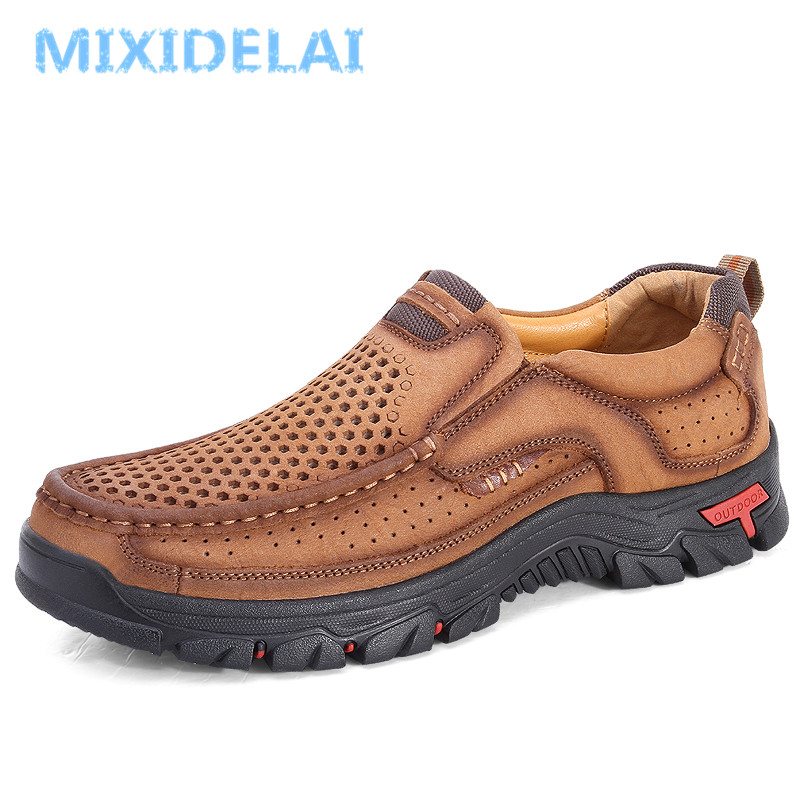 MIXIDELAI Genuine Leather Men Shoes England Trend Male Footwear Set Foot Men's Casual Outdoors Man Flats Work Shoes Large Size48