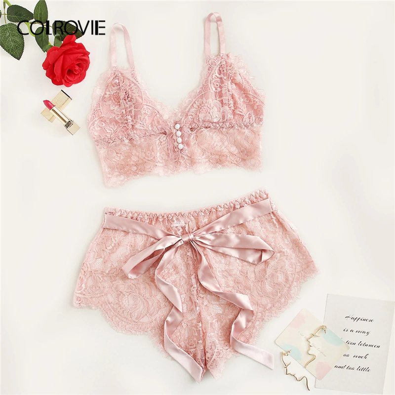 COLROVIE Pink Scalloped Trim Floral Lace Lingerie   Set   Women   Pajama     Set   2019 Summer Bralettes And Briefs Sleepwear Sexy Nightgown