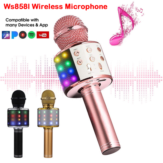 geekoplanet.com - Professional Glowing Bluetooth Wireless Karaoke Microphone