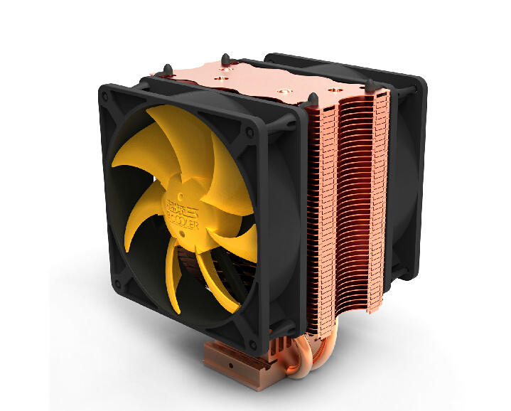 PcCooler S90D dual-fan 90mm fan, 2 heatpipe,for Intel LGA775/1150/1155/1156/1366,for AMD 754/939/AM2+/AM3/FM2 CPU cooling, three cpu cooler fan 4 copper pipe cooling fan red led aluminum heatsink for intel lga775 1156 1155 amd am2 am2 am3 ed