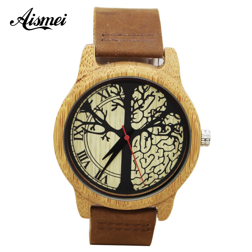 Aismei brand Retro Men Women Wood Watches Fashion Casual Tree dial Quartz Watches Clock Casual Genuine Leather Wristwatches erisson 32les80т2