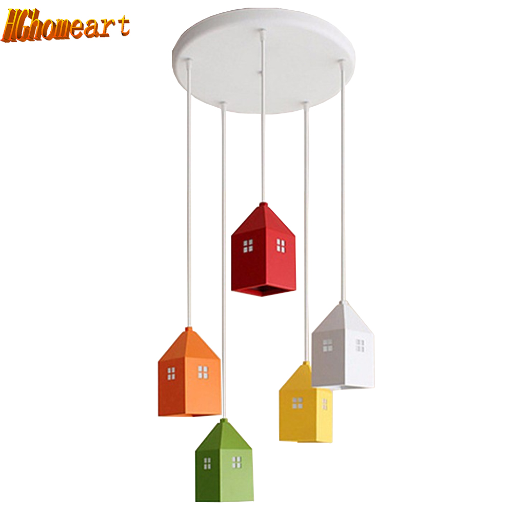 Hghomeart AC 90-265V kids Creative Mini House Countryside Cartoon Pendant Light For Childrens Bedroom Living Room Kindergarten ...