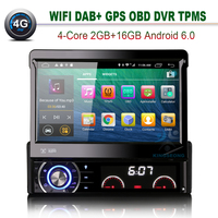 1 Din Car PC Android 6.0 Single Din Car Radio DVD GPS Support 4G WIFI OBD TPMS DVR DTV IN DAB+ Mirror Link 2GB RAM Bluetooth