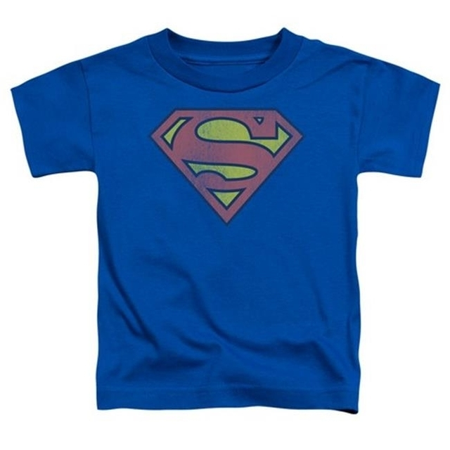 Trevco Dc-Retro Supes Logo Distressed – Short Sleeve Toddler Tee – Royal Small 2T