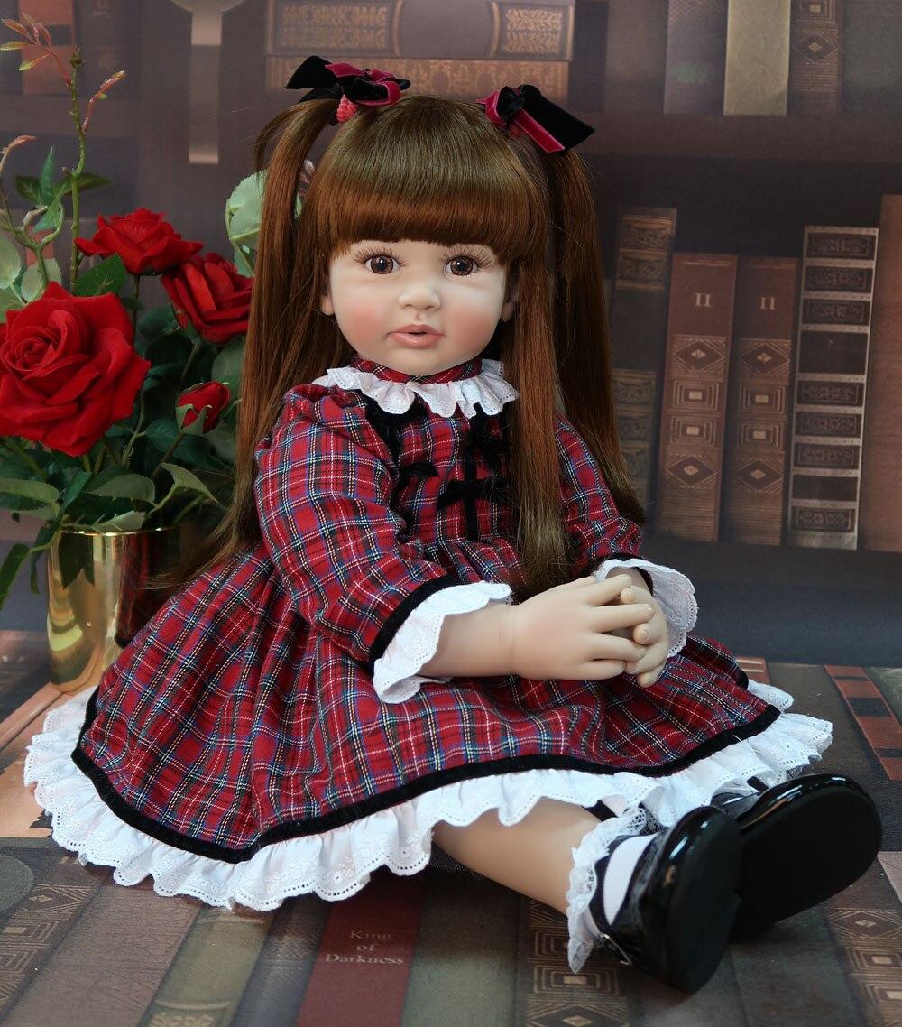 60cm Exclusieve stijl Siliconen Reborn Baby Pop Speelgoed Vinyl Prinses Peuter Baby 'S Als Alive Bebe Meisje Boneca Kind Verjaardag gift-in Poppen van Speelgoed & Hobbies op  Groep 1