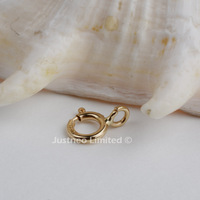 Free Shipping 4 8mm Solid 14carat Yellow Gold Spring Ring Clasp Connector Findings 10pcs Lot