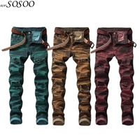 New man jeans ripped jeans for men Color printing design creative personality European and American style jeans men #808
