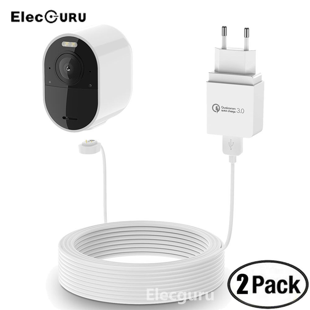 Arlo Ultra Charger Weatherproof 20ft/6m Magnetic Charging Cable With Quick Charge 3.0 Power Adapter For Arlo Ultra/Pro 3 Camera