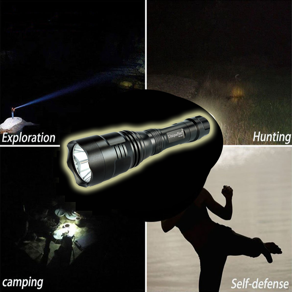 UniqueFire HS-801-XPE 250 Lumens White Light LED Flashlight 1 Mode Torch Power By 18650 Battery aresa hs 801