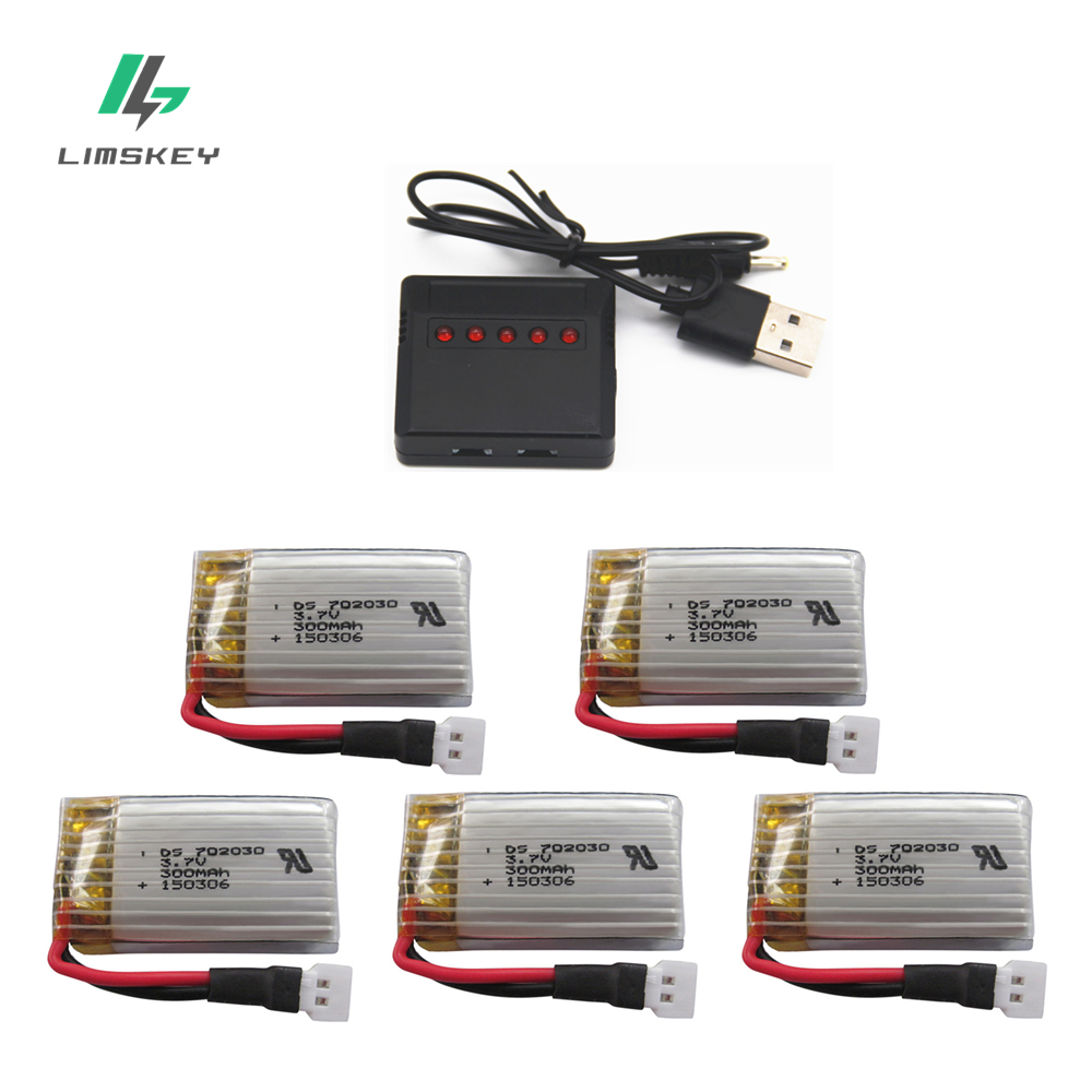 3.7V 300mAH Rechargeable Batteries Charger Sets For Udi U816 U830 F180 E55 FQ777 FQ17W Hubsan H107 Syma X11C FY530 Lipo Battery