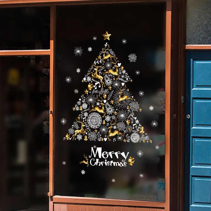 Golden Fawn ตกแต่งคริสต์มาสสติกเกอร์, กระจกหน้าต่างสติกเกอร์ Self - adhesive Christmas Tree PVC สติกเกอร์