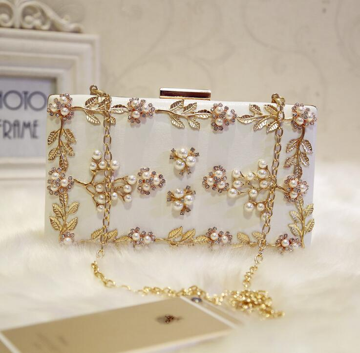Fashion Evening bags White Pink Crystal Handbags Day