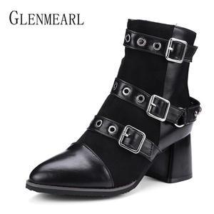 225c9f2e1d99 Women Boots Winter Shoes Heels Ankle Boots Motorcyle Rivets Punk Shoes  Woman Warm Black Plus Size Pointed Toe Short Boots Zip