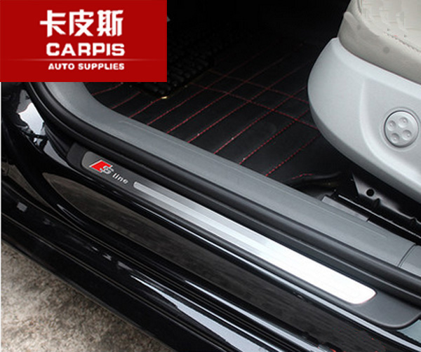 stainless steel car door sill scuff plate pad threshold car guards sills for audi q3 2013 2014. Black Bedroom Furniture Sets. Home Design Ideas