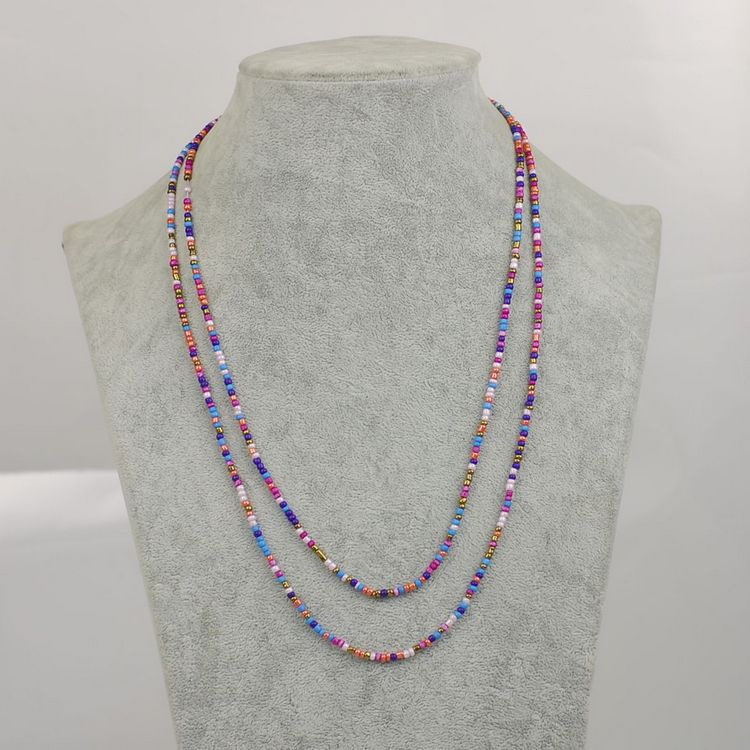 New Bohemian Colorful Beads Necklace For Dress Tassel Boho Beaded Chain Long Necklace For Women Promotion Bohemian Jewelry in Chain Necklaces from Jewelry Accessories