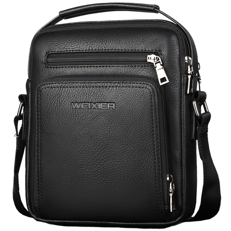 WEIXIER Casual Men Crossbody Bags Pu Leather Messenger Bag Designer Men Handbag Top Male Shoulder Bags