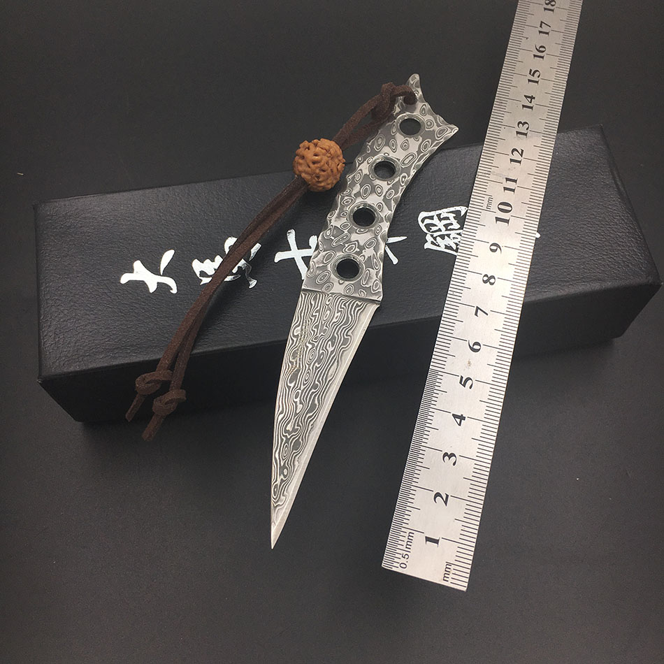 Couteau de chasse damas forgé à la main lame en acier damas dance-hostes l couteau de Camping couteau de survie Portable