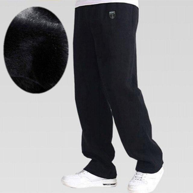 Бесплатная доставка зима большой человек брюки мужского плюс размер плюс бархат утолщение очень большой 100% хлопок случайные длинные брюки 5xl-8xl