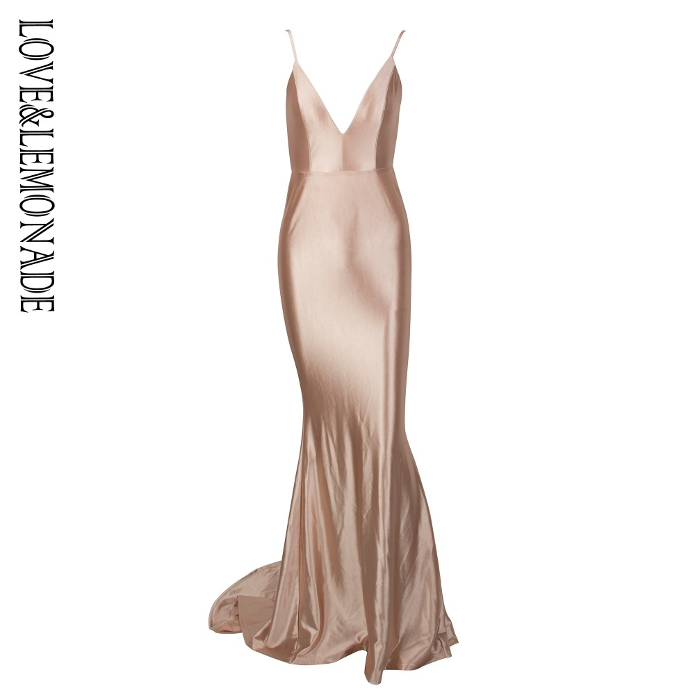 Love&Lemonade  Nude Deep V-Neck Open Back Slim Flash Material Long Dress  LM1098