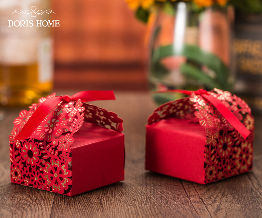 Aliexpress Buy 100 Pcs Free Shipping Red With Gold Flower Laser Cut Wedding Favor Boxes Candy Box Casamento Favors And Gifts From