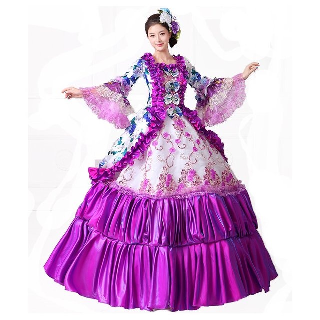 7ec652a2debd Women Purple Floral Printed Rococo Marie Antoinette Dresses Southern Belle  Masquerade Victorian Ball Costumes Theatre Clothing